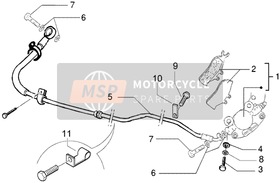 Rear brake piping - rear brake caliper