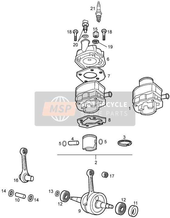 Crankshaft assy-cylinder and piston