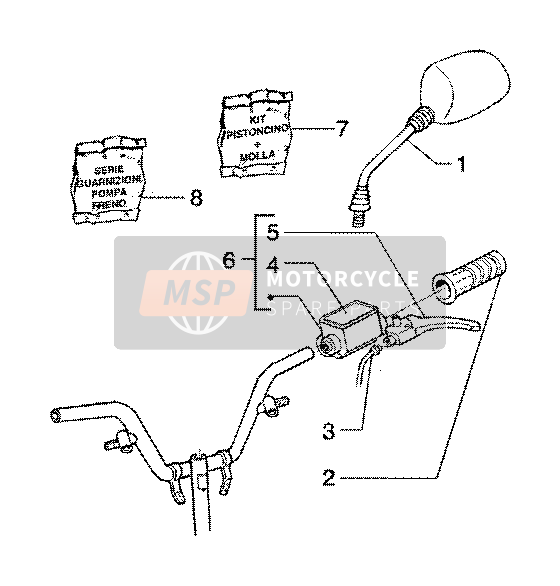 Handlebars component parts (vehicle with rear hub brake)