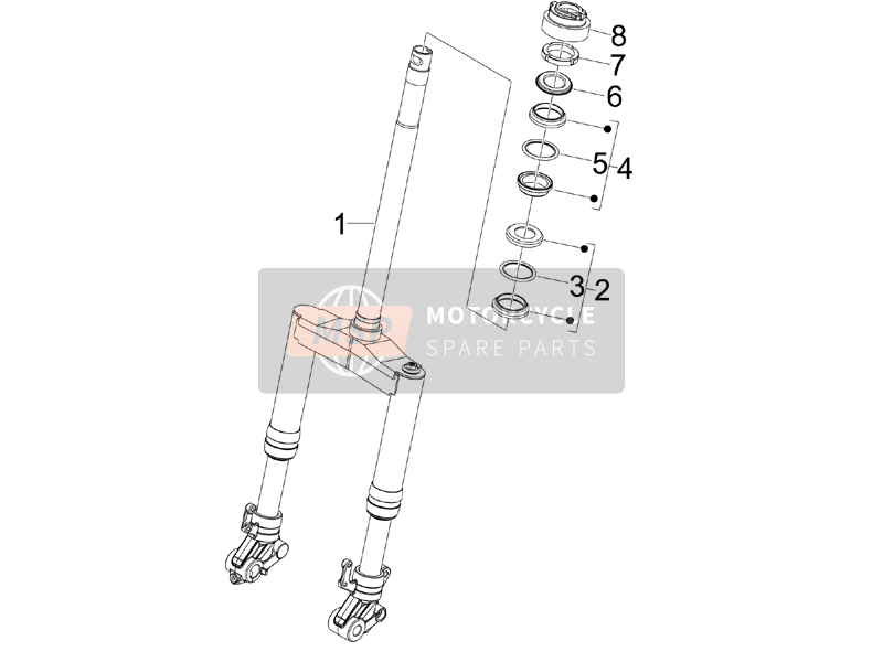 Fork/steering tube - Steering bearing unit
