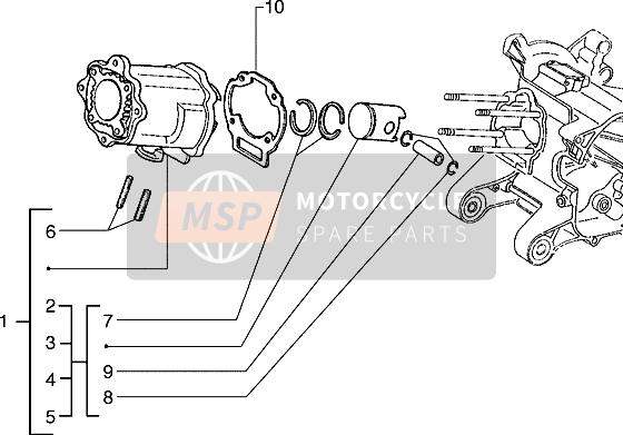 Cylinder-piston-wrist pin, assy