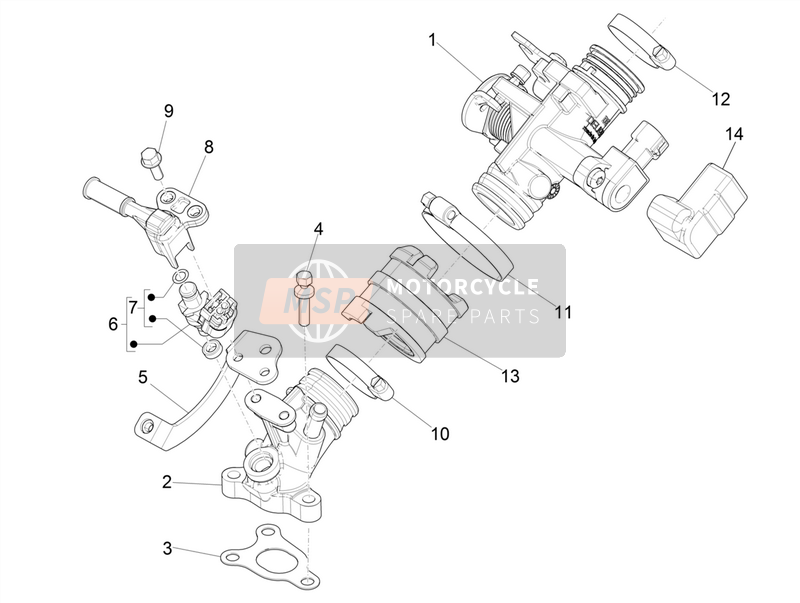 Piaggio Liberty 150 iGET 4T 3V ie ABS (USA) 2018 Smoorklep Lichaam - Injector - Unie Pijp for a 2018 Piaggio Liberty 150 iGET 4T 3V ie ABS (USA)