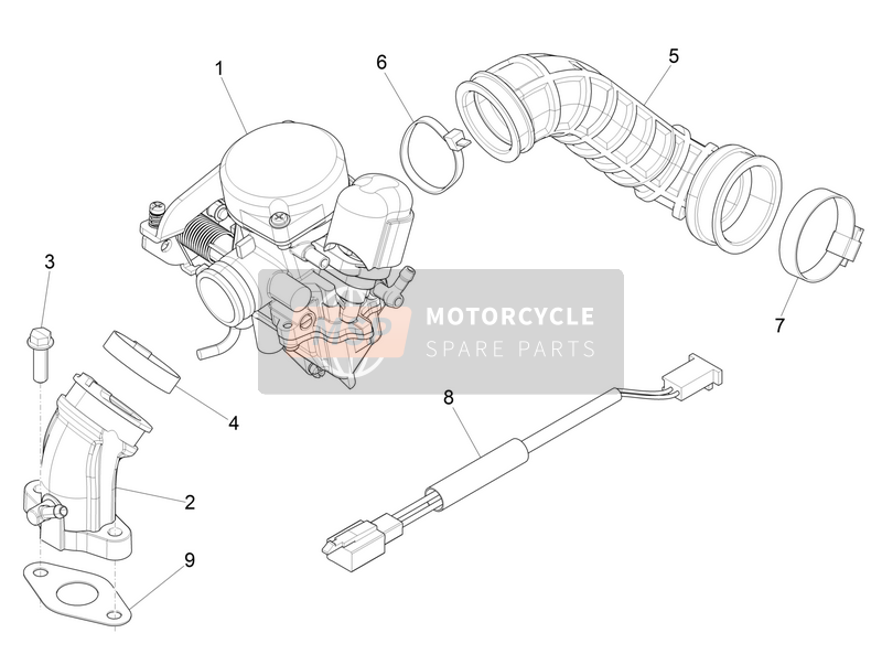 Carburettor, assembly - Union pipe