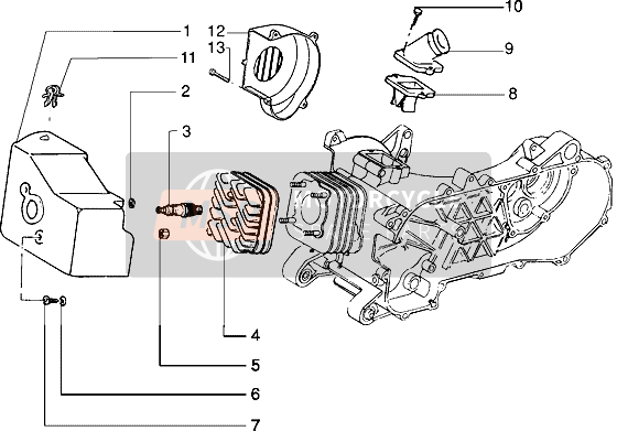 Cylinder head and induction pipe (Vehicle with rear drum brake)