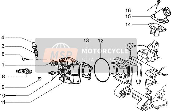 Cylinder head and induction pipe (Vehicle with rear hub brake)