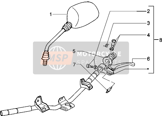 Handlebars component parts (Vehicle with rear drum brake)