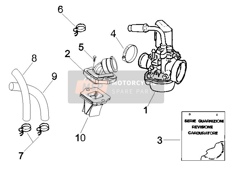 Carburettor, assembly - Union pipe (2)