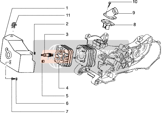Cylinder head-cooling hood-inlet and induction pipe