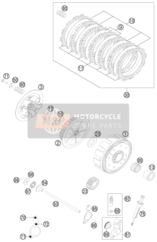 KTM 125 EXC FACTORY EDITION Europe 2015 CLUTCH for a 2015 KTM 125 EXC FACTORY EDITION Europe