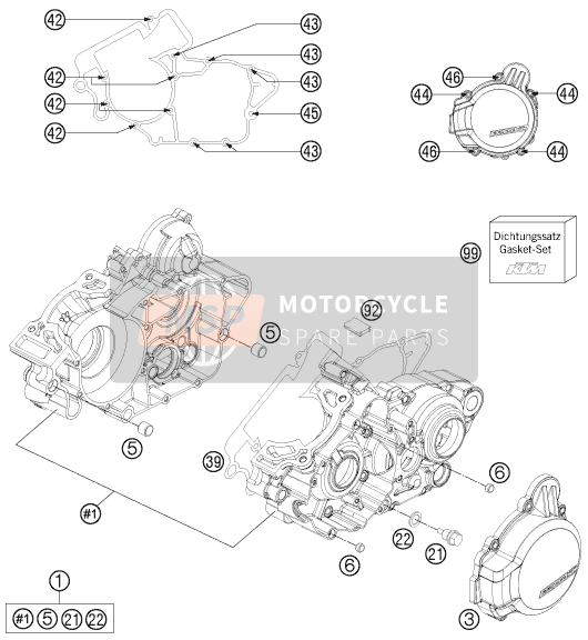 KTM 125 EXC FACTORY EDITION Europe 2015 ENGINE CASE for a 2015 KTM 125 EXC FACTORY EDITION Europe