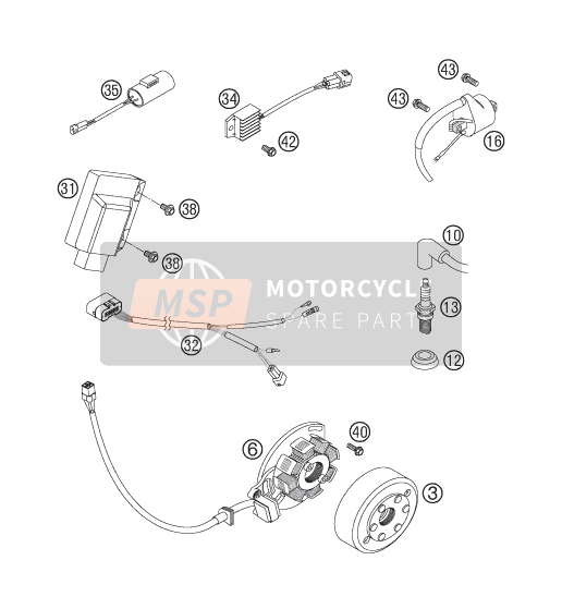 KTM 125 EXC SIX-DAYS Europe 2007 IGNITION SYSTEM for a 2007 KTM 125 EXC SIX-DAYS Europe