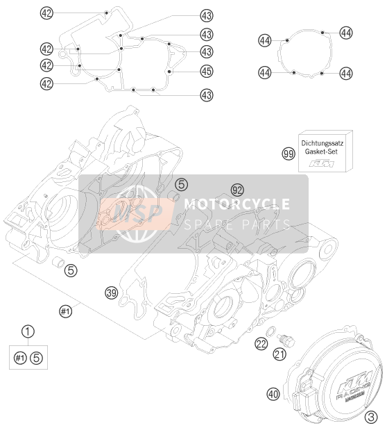 KTM 125 EXC SIX-DAYS Europe 2008 ENGINE CASE for a 2008 KTM 125 EXC SIX-DAYS Europe