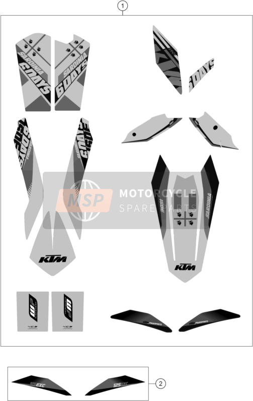 KTM 125 EXC SIX-DAYS Europe 2014 DECAL for a 2014 KTM 125 EXC SIX-DAYS Europe