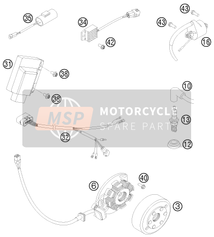 KTM 125 EXC SIX-DAYS Europe 2014 IGNITION SYSTEM for a 2014 KTM 125 EXC SIX-DAYS Europe