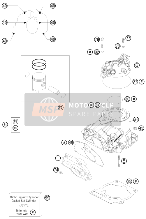 KTM 125 EXC SIX-DAYS Europe 2015 CYLINDER, CYLINDER HEAD for a 2015 KTM 125 EXC SIX-DAYS Europe