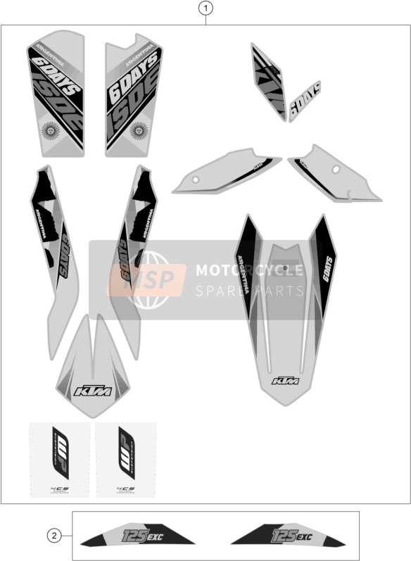 KTM 125 EXC SIX-DAYS Europe 2015 DECAL for a 2015 KTM 125 EXC SIX-DAYS Europe