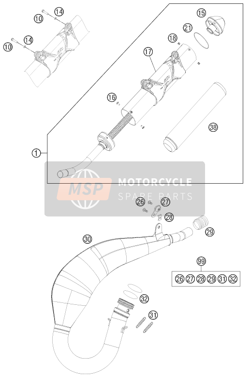 KTM 125 EXC SIX-DAYS Europe 2015 EXHAUST SYSTEM for a 2015 KTM 125 EXC SIX-DAYS Europe