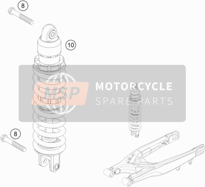 KTM 125 EXC SIX-DAYS Europe 2015 SHOCK ABSORBER for a 2015 KTM 125 EXC SIX-DAYS Europe