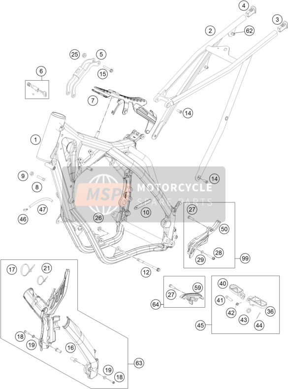 KTM 125 EXC SIX-DAYS Europe 2016 FRAME for a 2016 KTM 125 EXC SIX-DAYS Europe
