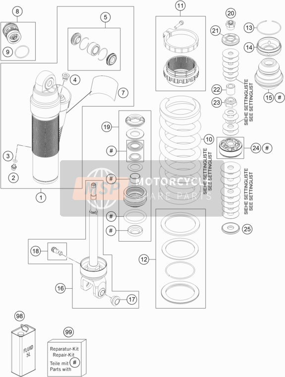 KTM 300 XC-W USA 2017 SHOCK ABSORBER DISASSEMBLED for a 2017 KTM 300 XC-W USA