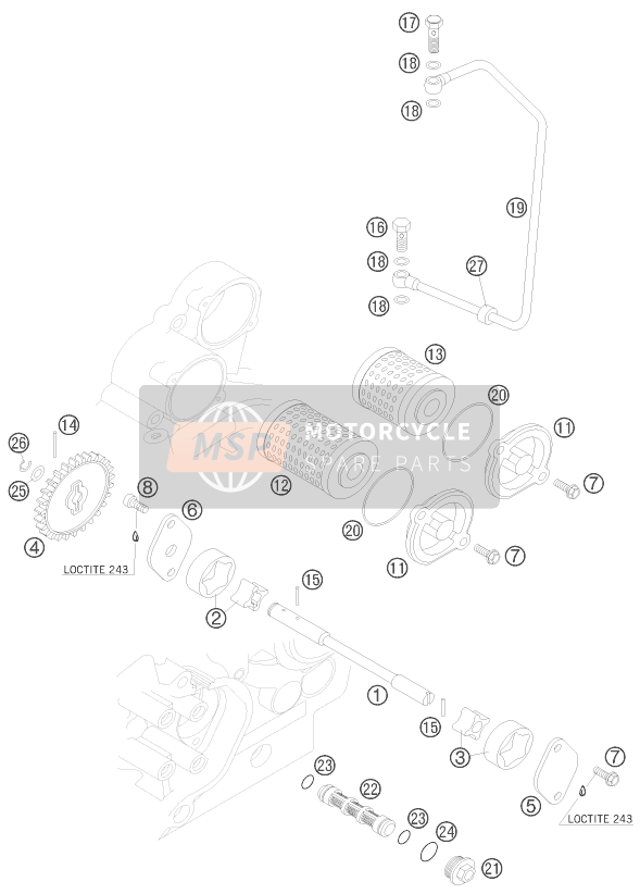 KTM 450 XC ATV Europe 2009 LUBRICATING SYSTEM for a 2009 KTM 450 XC ATV Europe