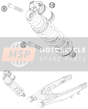 KTM 505 XC-F Europe 2009 SHOCK ABSORBER for a 2009 KTM 505 XC-F Europe