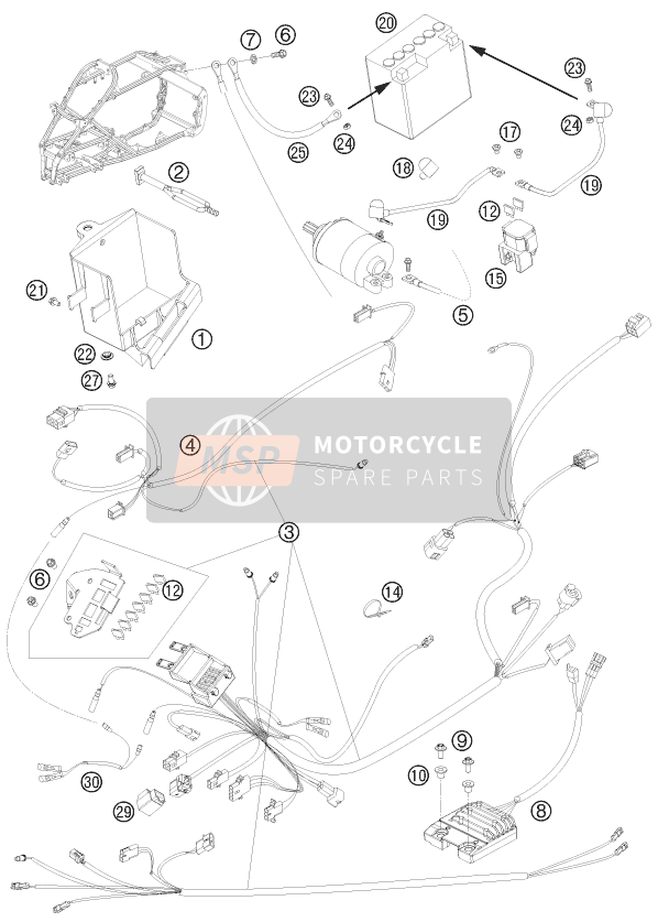 KTM 525 XC ATV Europe 2010 WIRING HARNESS for a 2010 KTM 525 XC ATV Europe
