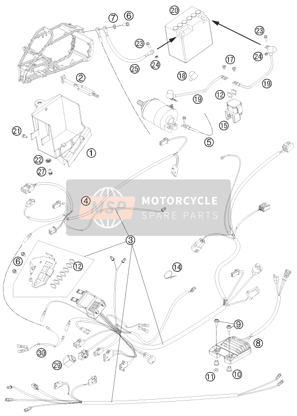 KTM 525 XC ATV Europe 2011 WIRING HARNESS for a 2011 KTM 525 XC ATV Europe