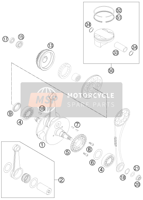KTM 525 XC ATV Europe 2012 CRANKSHAFT, PISTON for a 2012 KTM 525 XC ATV Europe
