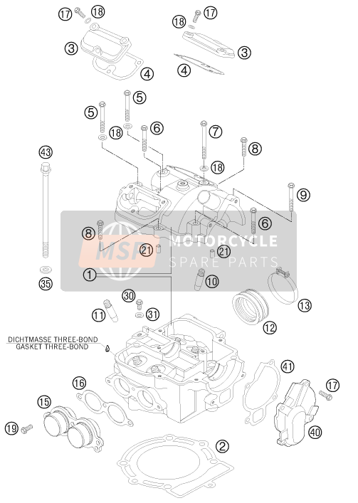 KTM 525 XC ATV Europe 2012 CYLINDER HEAD for a 2012 KTM 525 XC ATV Europe