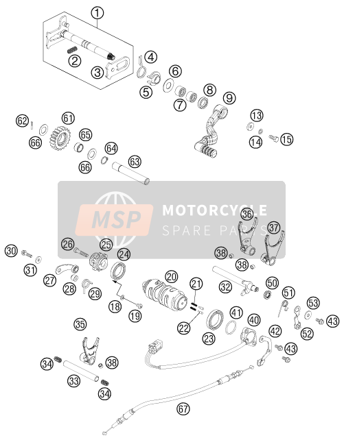 KTM 525 XC ATV Europe 2012 SHIFTING MECHANISM for a 2012 KTM 525 XC ATV Europe