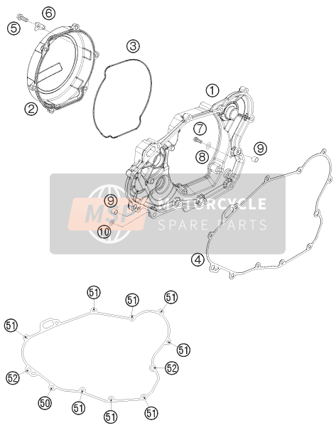 KTM 530 XC-W South Africa 2010 CLUTCH COVER for a 2010 KTM 530 XC-W South Africa
