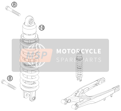 KTM 530 XC-W South Africa 2010 SHOCK ABSORBER for a 2010 KTM 530 XC-W South Africa