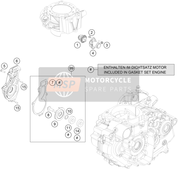 Husqvarna 701 SUPERMOTO, Europe 2017 WATER PUMP for a 2017 Husqvarna 701 SUPERMOTO, Europe