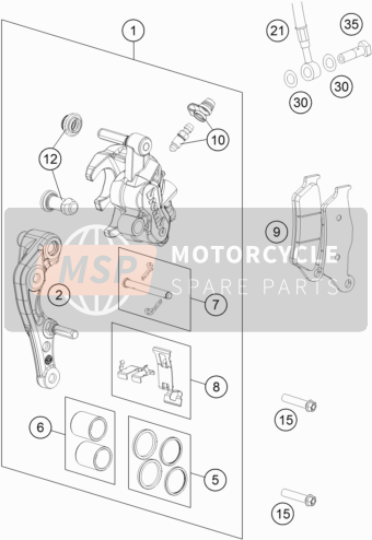 Husqvarna TC 250, Europe 2016 Bremssattel vorne for a 2016 Husqvarna TC 250, Europe