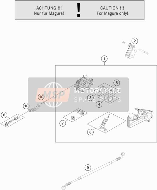 Husqvarna FX 450 2019 Bremssattel hinten for a 2019 Husqvarna FX 450