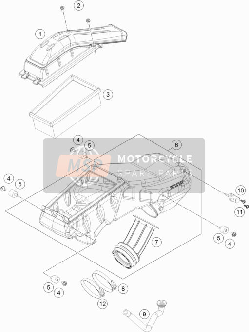 Husqvarna 701 Supermoto, Europe 2019 Lucht Filter for a 2019 Husqvarna 701 Supermoto, Europe