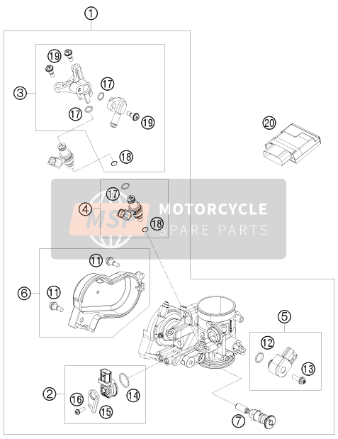 Husaberg FS 570, United States 2011 THROTTLE BODY for a 2011 Husaberg FS 570, United States