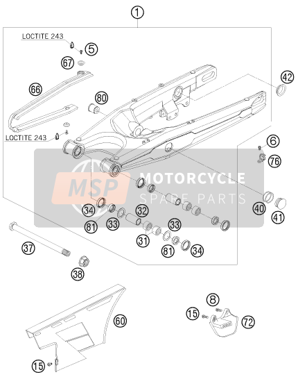 Husaberg FS 450e/6, Europe 2008 SWING ARM for a 2008 Husaberg FS 450e/6, Europe