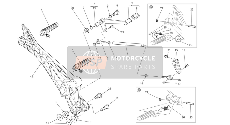 Ducati MONSTER 696 ABS EU 2013 Fußstützen links for a 2013 Ducati MONSTER 696 ABS EU