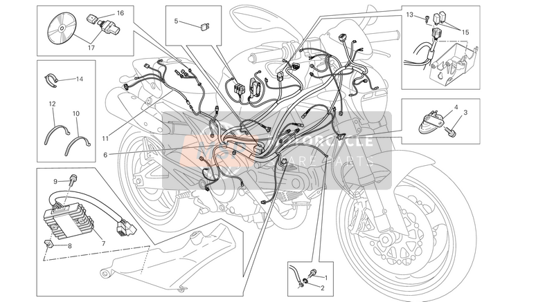 Ducati MONSTER 696 ABS EU 2013 WIRING HARNESS  for a 2013 Ducati MONSTER 696 ABS EU