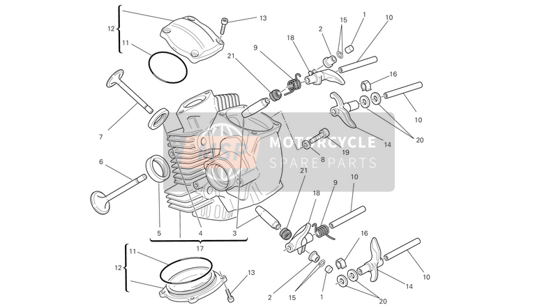 Ducati MONSTER 696 ABS USA 2013 Horizontaler Zylinderkopf for a 2013 Ducati MONSTER 696 ABS USA