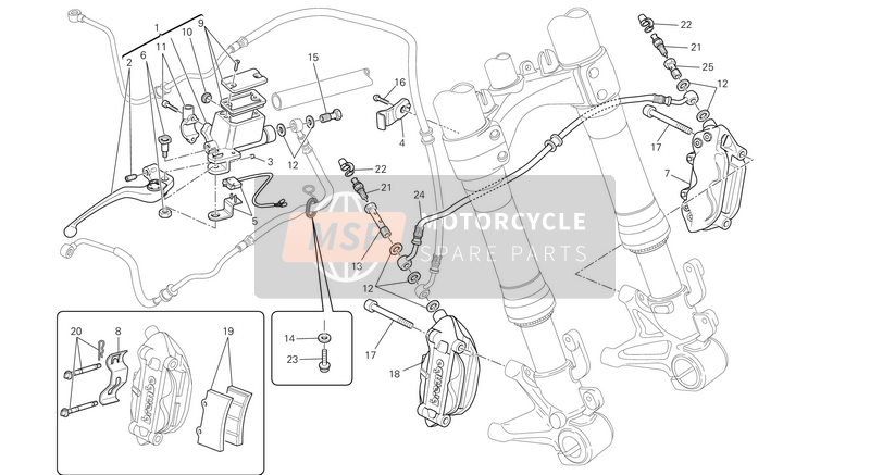 Ducati MONSTER 696 ABS USA 2014 FRONT BRAKE SYSTEM  for a 2014 Ducati MONSTER 696 ABS USA