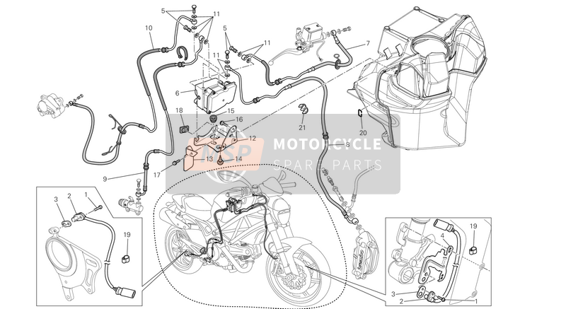 Ducati MONSTER 796 ABS EU 2013 ABS Bremsanlage for a 2013 Ducati MONSTER 796 ABS EU
