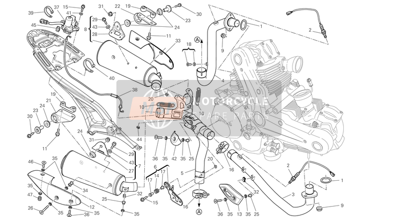 Ducati MONSTER 796 ABS EU 2013 EXHAUST SYSTEM  for a 2013 Ducati MONSTER 796 ABS EU