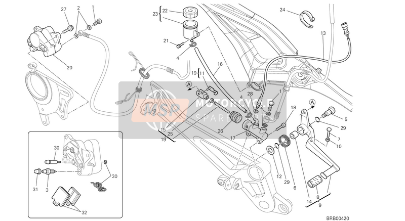 Ducati MONSTER 796 ABS EU 2013 REAR BRAKE SYSTEM  for a 2013 Ducati MONSTER 796 ABS EU