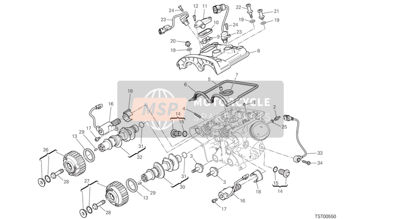 Ducati MULTISTRADA 1200 S ABS USA 2016 VERTICAL CYLINDER HEAD - TIMING for a 2016 Ducati MULTISTRADA 1200 S ABS USA