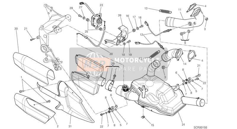 Ducati MULTISTRADE 1200 ABS USA 2013 EXHAUST SYSTEM  for a 2013 Ducati MULTISTRADE 1200 ABS USA