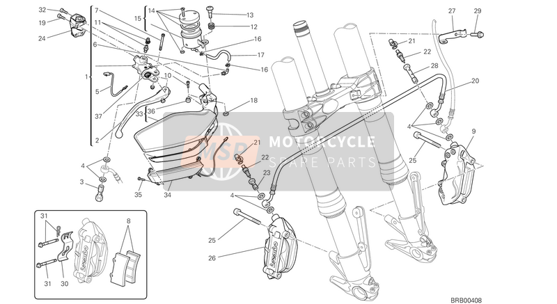 Ducati MULTISTRADE 1200 ABS USA 2013 FRONT BRAKE SYSTEM  for a 2013 Ducati MULTISTRADE 1200 ABS USA