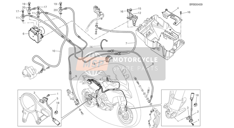 Ducati MULTISTRADE 1200 ABS USA 2014 ABS Bremsanlage for a 2014 Ducati MULTISTRADE 1200 ABS USA